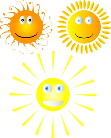 Set of smiling suns Stock Vector - 9917431