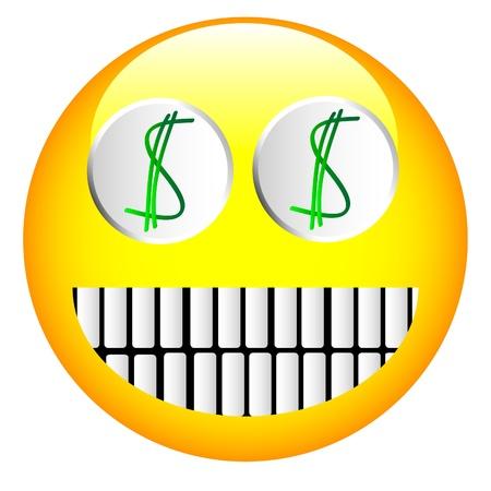 Cheerful emoticon have dollar signs in eyes Illusztráció
