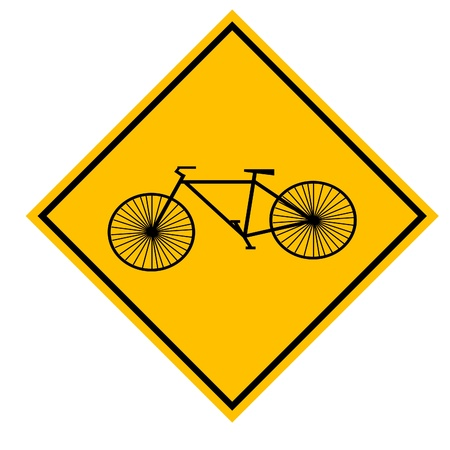 illustration of a bike on a yellow caution sign Stock Vector - 9917412