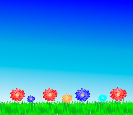 buttercups: Flowers and grass Illustration