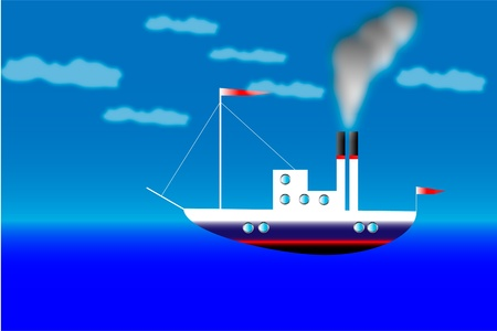 Illustration of steamer in the sea Stock Vector - 9917498