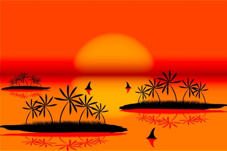 Seascape with island on tropical sunset Vector