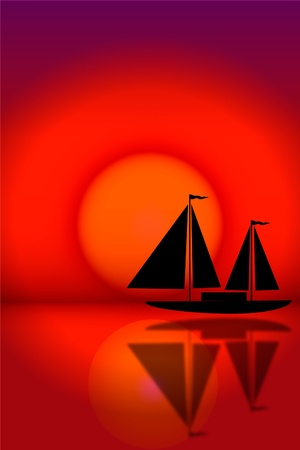 Silhouette of sailboat sailing on the background of a sunset Vector