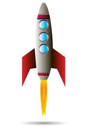 rocketship: Stylized illustration of a starting rocket ship on white background