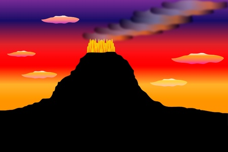 an outburst: Silhouette of eruption of a volcano on background the multi-coloured sky