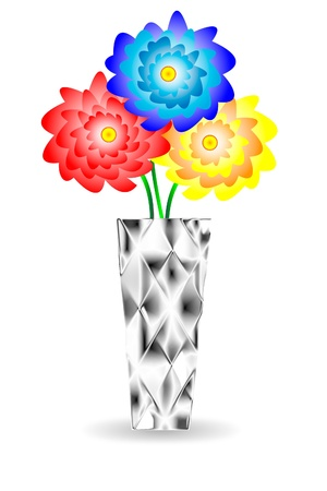 flower Gerber in vase on white background Stock Vector - 9917543