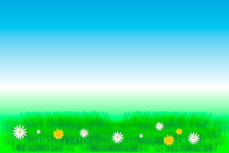 buttercups: Bright, natural background with the fresh grass and field flowers