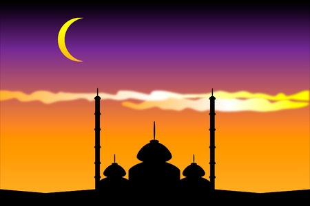 Silhouette of mosques in the moon night, illustration Vector