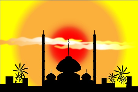 mosque silhouette at sunset with city and palms on background Vector