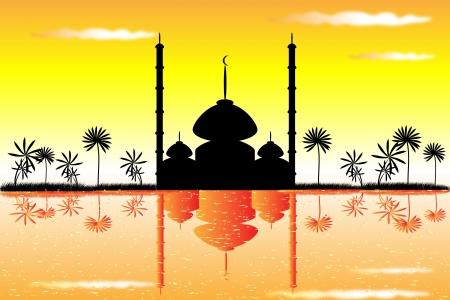 La mosquée au coucher du soleil et de nuages