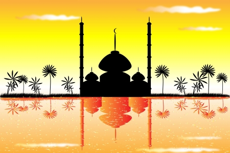 masjid: The mosque at sunset and clouds Illustration
