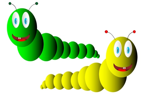 Two caterpillars on white background Stock Vector - 9917798