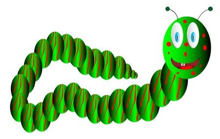 Green caterpillar on white background Stock Vector - 9917802