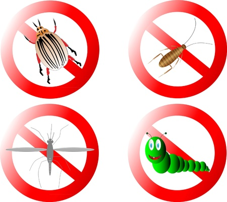 Forbidding signs on white background Vector