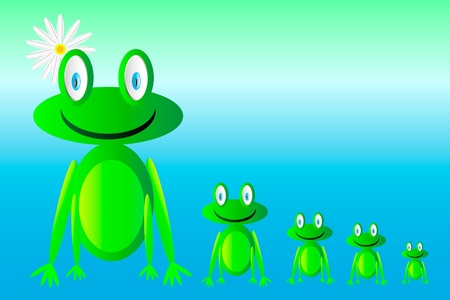 happy green frogs  Vector