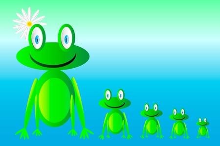 happy green frogs  Vector