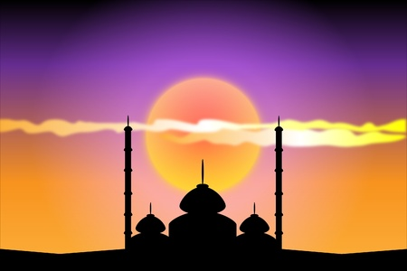 fitr: Silhouette of mosques at sunset Illustration
