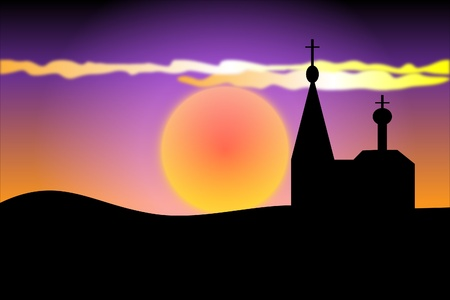orthodoxy: Orthodoxy church at sunset