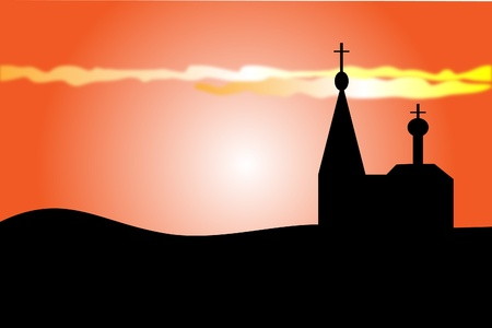 orthodoxy: An orange sunset and orthodoxy church