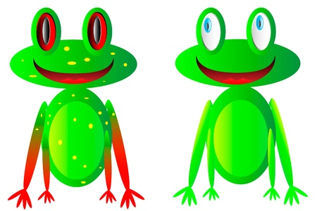happy frogs on white background Vector