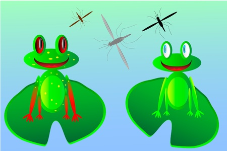 Two happy frogs and mosquitoes Vector