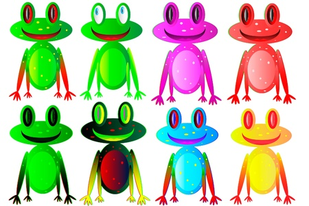 Set of the happy, colorful frogs on white background Stock Vector - 9917839