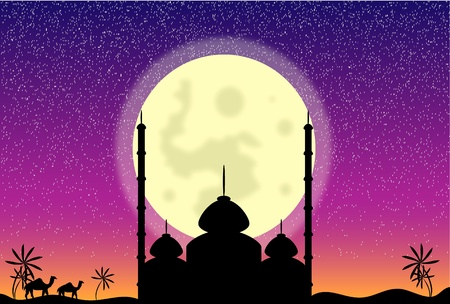 mosque illustration: Silhouette of mosque in the moon night, illustration