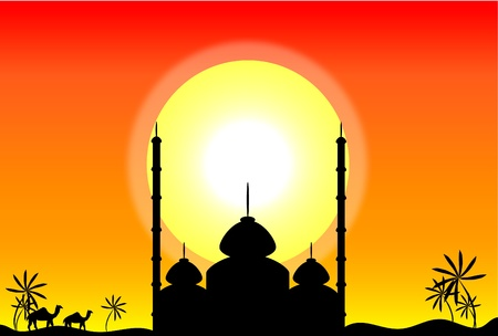 mosque illustration: Silhouette of mosque at sunset, illustration