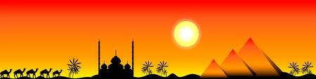 Puesta de sol en Egipto con mezquita, pirámides y camellos, panorama