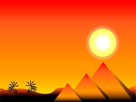 Puesta de sol en Egipto con las pirámides y palmeras Ilustración de vector