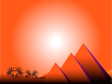 dawning: Sunrise in Egypt with pyramids and palms Illustration