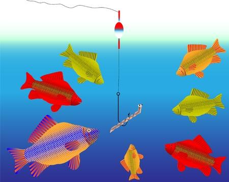 carp fishing: Pesci e worm sullo sfondo di acqua  Vettoriali