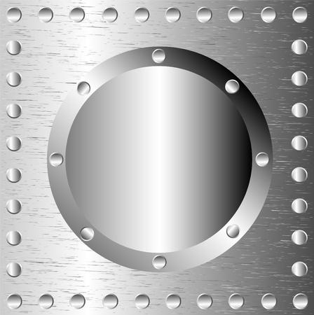 Een metalen achtergrond met klinknagels Stock Illustratie