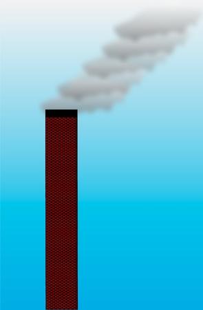vapor trail: Plant pipe on sky background. Illustration. Illustration