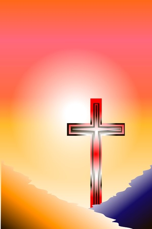 afterglow: Cross at sunset