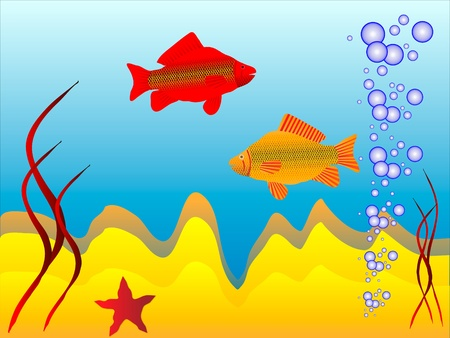 The underwater world of  fish - vector Vector