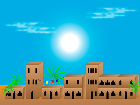 Residential street in old arabian style - vector Vector