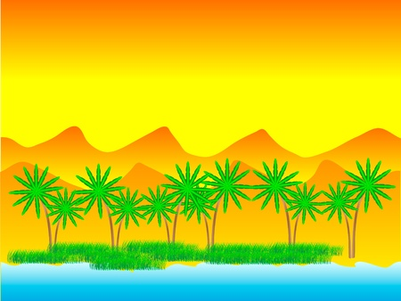 desert oasis: Oasis in the desert with palm trees - vector Illustration