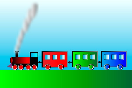 Steam locomotive with wagons - vector illustration. Stock Vector - 10034396