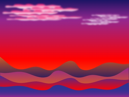 Sunset in desert with clouds and dunes