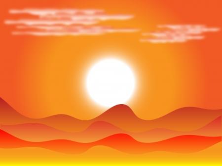 Zonsondergang in de woestijn met de wolken en duinen Stock Illustratie