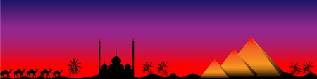 Sunset in Egypt with mosque, pyramids and camels, panorama Stock Vector - 10034398