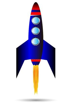 misil: Ilustraci�n vectorial estilizada de partida cohete sobre fondo blanco