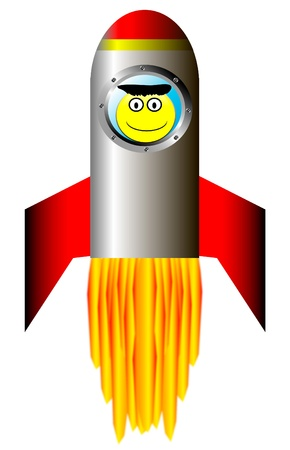 Stylized vector illustration of a starting rocket ship with happy astronaut on white background Vector