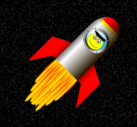 Stylized vector illustration of rocket ship in space with happy astronaut Vector