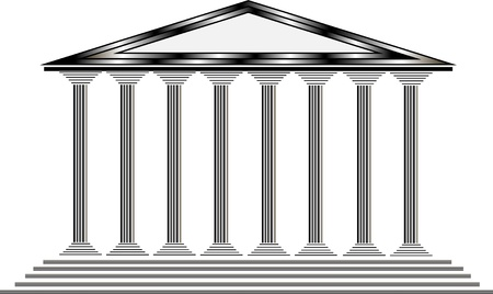 greco roman  roman: Greek temple on white background - illustration for design Illustration