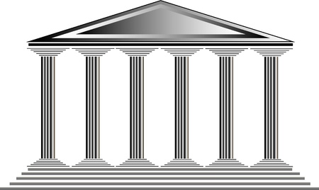 ancient rome: Greek temple on white background -  illustration for design