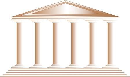 columna corintia: Templo griego sobre fondo blanco - ilustraci�n para el dise�o