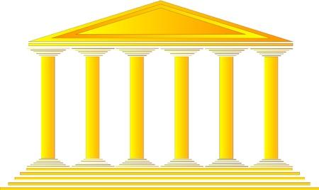 temple grec: Temple grec sur fond blanc - illustration pour la conception