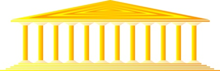 greco: Greek temple on white background -  illustration for design